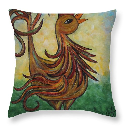 Rooster Throw Pillow featuring the painting Good Morning by Molly Roberts