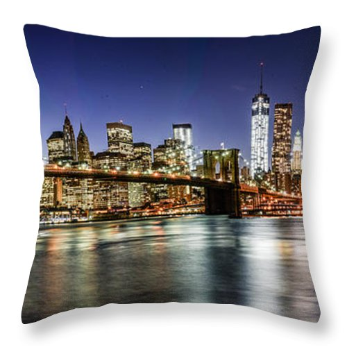 Nyc Throw Pillow featuring the photograph Good Night New York by Stacey Granger