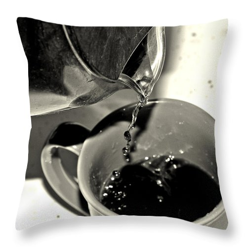 Coffee Throw Pillow featuring the photograph Good To The Last Drop by Dan Sproul
