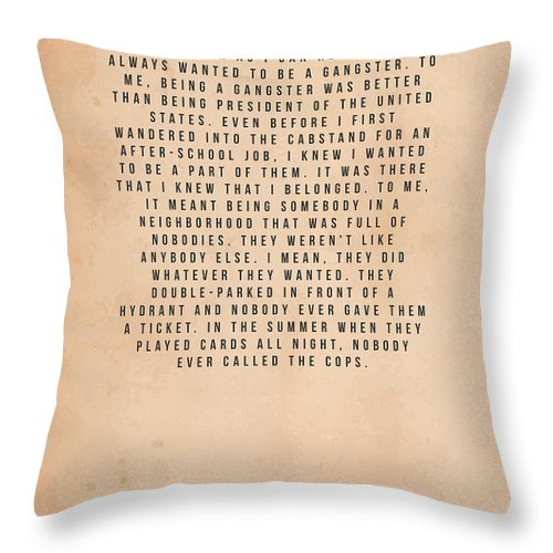Goodfellas Throw Pillow featuring the mixed media Goodfellas by Mike Taylor