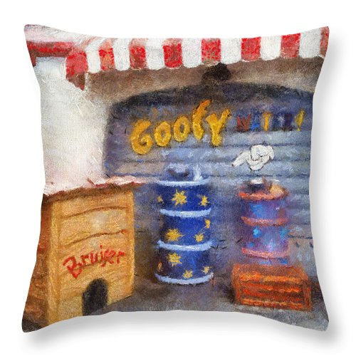 Toontown Disney Land Throw Pillow featuring the photograph Goofy Water Disneyland Toontown Photo Art 02 by Thomas Woolworth