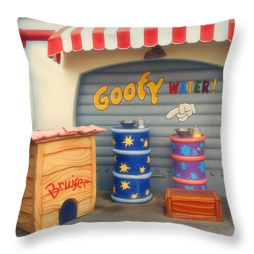 Toontown Disney Land Throw Pillow featuring the photograph Goofy Water Disneyland Toontown by Thomas Woolworth