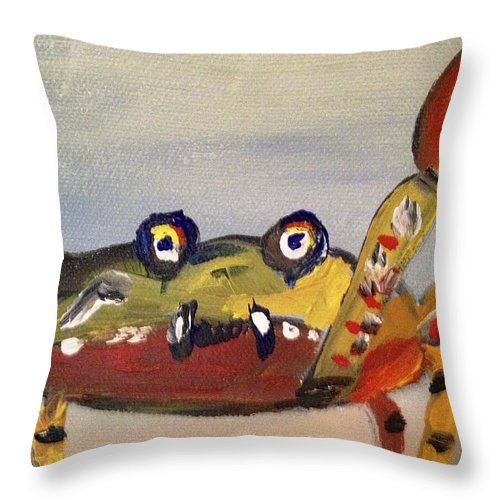 Crab Throw Pillow featuring the painting Googly Eyes by Kimberly Balentine