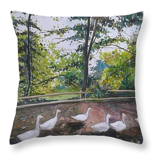 Goose Throw Pillow featuring the painting goose on Olot by Alejandro Lozano
