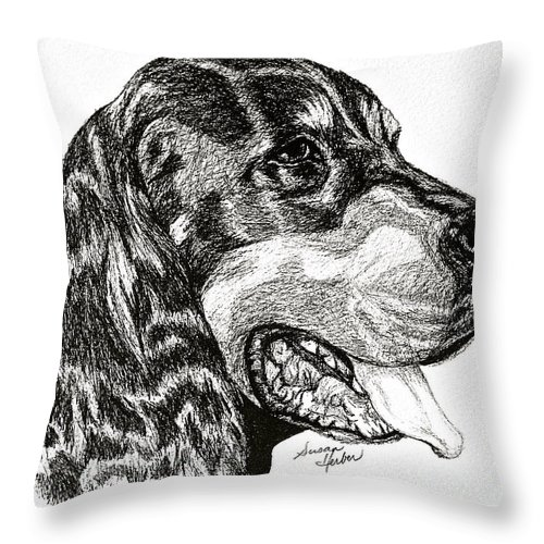 Dog Throw Pillow featuring the drawing Gordon Setter by Susan Herber