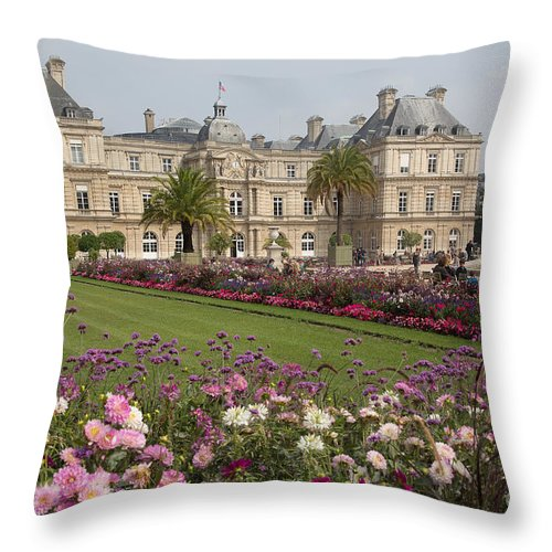 Luxembourg Gardens Throw Pillow featuring the photograph Gorgeous Day In Paris by Anita Miller