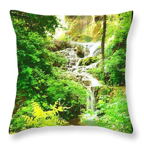 Colorado Bend State Park Throw Pillow featuring the digital art Gorman Falls by Jim Sanders