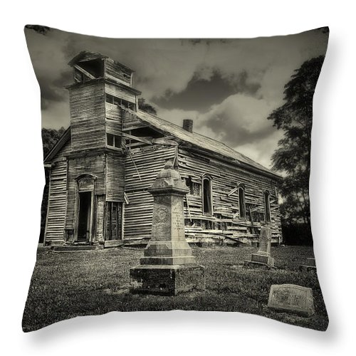 Cemetery Throw Pillow featuring the photograph Gospel Center Church II by Tom Mc Nemar