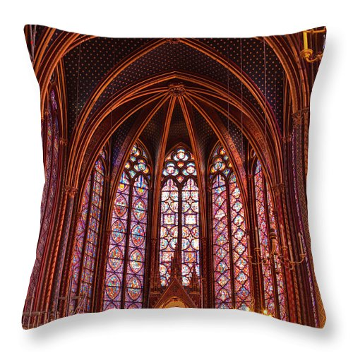 Gothic Style Throw Pillow featuring the photograph Gothic Architecture Inside Sainte by Julian Elliott Photography
