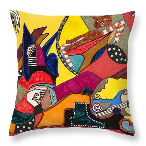 Abstract Throw Pillow featuring the drawing Gotta Go by Dennis Davis