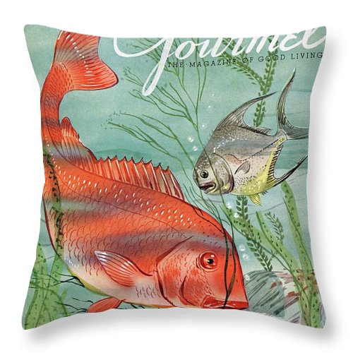 Illustration Throw Pillow featuring the photograph Gourmet Cover Featuring A Snapper And Pompano by Henry Stahlhut