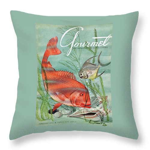 Illustration Throw Pillow featuring the painting Gourmet Cover Featuring A Snapper And Pompano by Henry Stahlhut