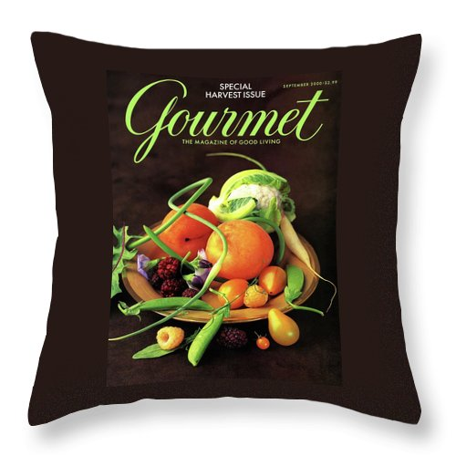 Food Throw Pillow featuring the photograph Gourmet Cover Featuring A Variety Of Fruit by Romulo Yanes