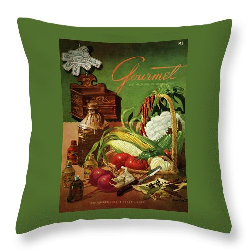 Food Throw Pillow featuring the photograph Gourmet Cover Featuring A Variety Of Vegetables by Henry Stahlhut