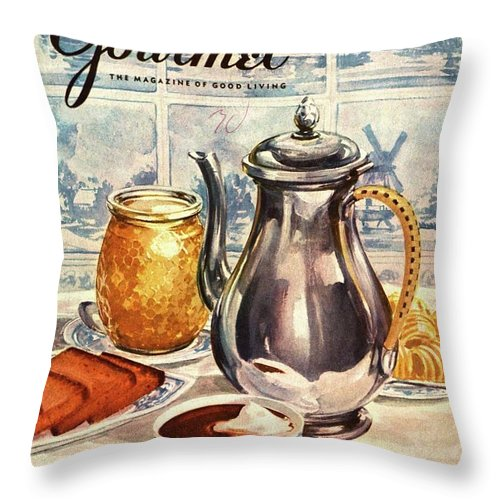 Illustration Throw Pillow featuring the photograph Gourmet Cover Featuring An Illustration by Hilary Knight