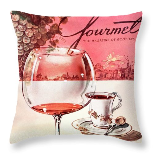Travel Throw Pillow featuring the photograph Gourmet Cover Illustration Of A Baccarat Balloon by Henry Stahlhut