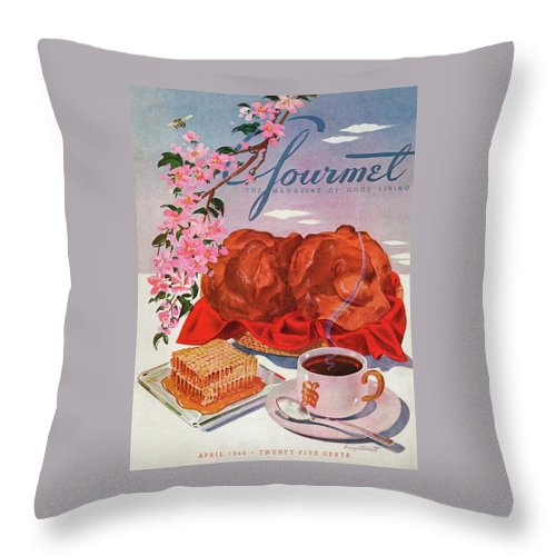 Food Throw Pillow featuring the photograph Gourmet Cover Illustration Of A Basket Of Popovers by Henry Stahlhut