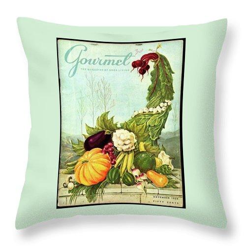 Gourmet Cover Illustration Of A Cornucopia Throw Pillow