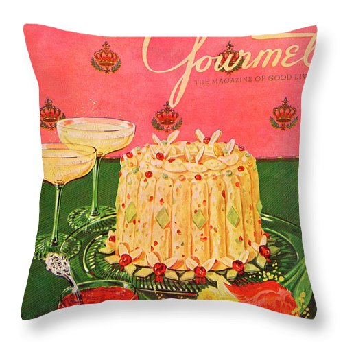 Illustration Throw Pillow featuring the photograph Gourmet Cover Illustration Of A Molded Rice by Henry Stahlhut