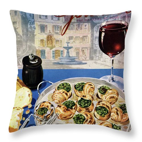 Food Throw Pillow featuring the photograph Gourmet Cover Illustration Of A Platter by Henry Stahlhut