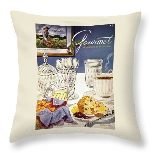 Food Throw Pillow featuring the photograph Gourmet Cover Illustration Of Cranberry Muffins by Henry Stahlhut