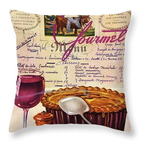 Food Throw Pillow featuring the photograph Gourmet Cover Illustration Of Deep Dish Pie by Henry Stahlhut