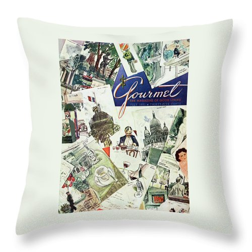 Illustration Throw Pillow featuring the photograph Gourmet Cover Illustration Of Drawings Portraying by Henry Stahlhut