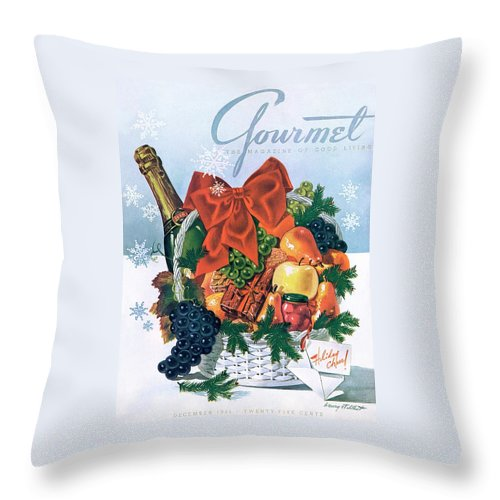 Food Throw Pillow featuring the photograph Gourmet Cover Illustration Of Holiday Fruit Basket by Henry Stahlhut