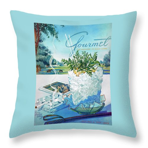 Food Throw Pillow featuring the photograph Gourmet Cover Illustration Of Mint Julep Packed by Henry Stahlhut