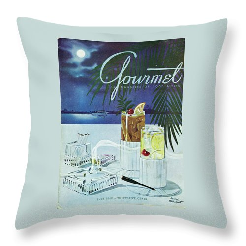 Boat Throw Pillow featuring the photograph Gourmet Cover Of Cocktails by Henry Stahlhut