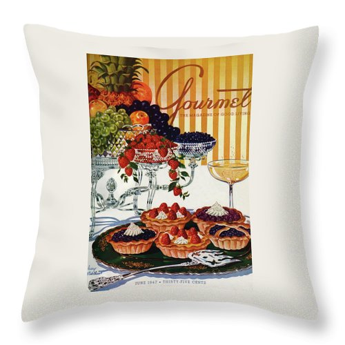 Food Throw Pillow featuring the photograph Gourmet Cover Of Fruit Tarts by Henry Stahlhut