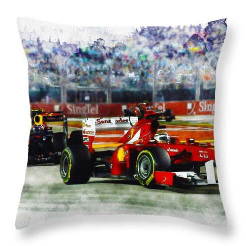 Formula One Racing Throw Pillow featuring the digital art Gp Singapore F1 by Don Kuing