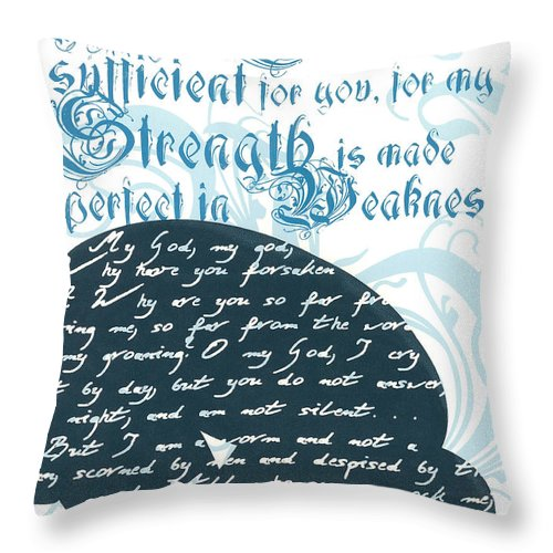 Silk Screen Throw Pillow featuring the drawing Grace Sufficient by Holly Carton