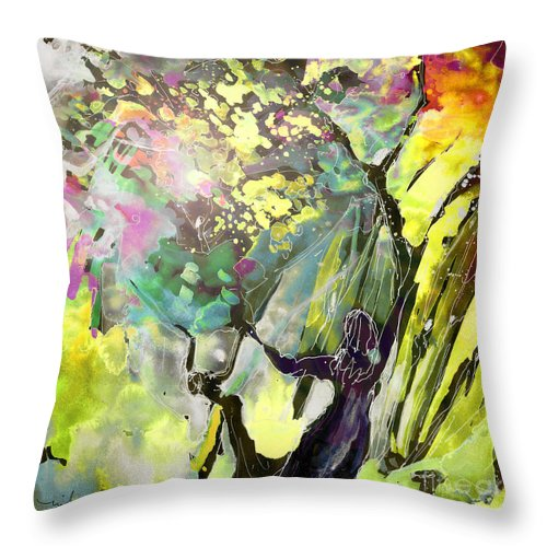 Fantasy Throw Pillow featuring the painting Grace under Pressure by Miki De Goodaboom