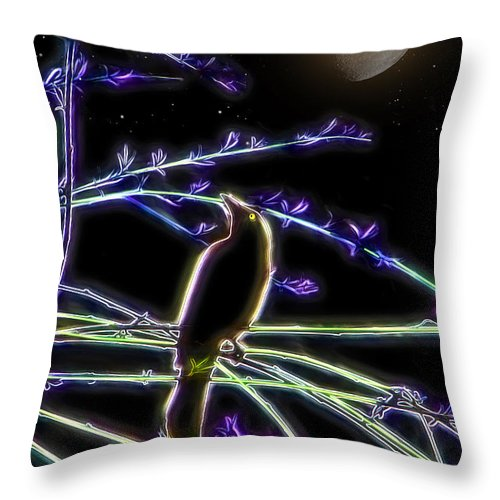 Grackle Throw Pillow featuring the photograph Grackle In The Willow Tree by Ericamaxine Price