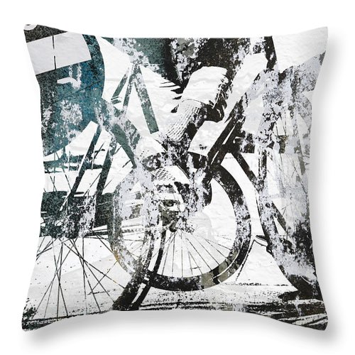 Bikes Throw Pillow featuring the photograph Graffiti Bikes by Kyle Morris