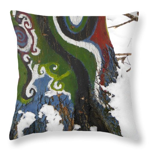 Graffiti Throw Pillow featuring the photograph Graffitree 3 by Paddy Shaffer