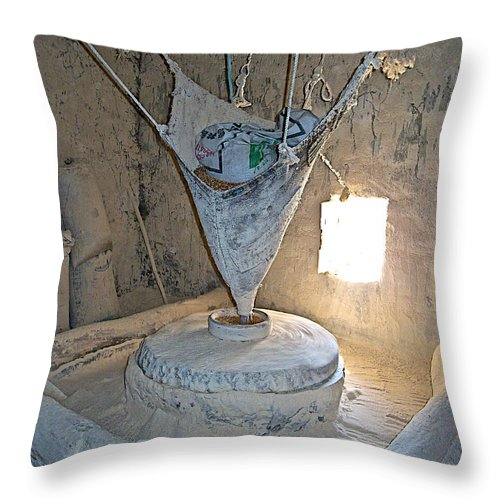 Grain Mill On The Way To Shigatse Throw Pillow featuring the photograph Grain Mill On The Way To Shigatse-tibet by Ruth Hager