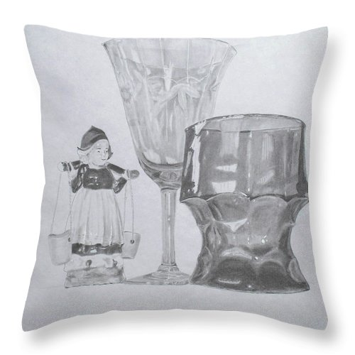 Glassware Throw Pillow featuring the drawing Grammas Glasses by Mary Ellen Mueller Legault