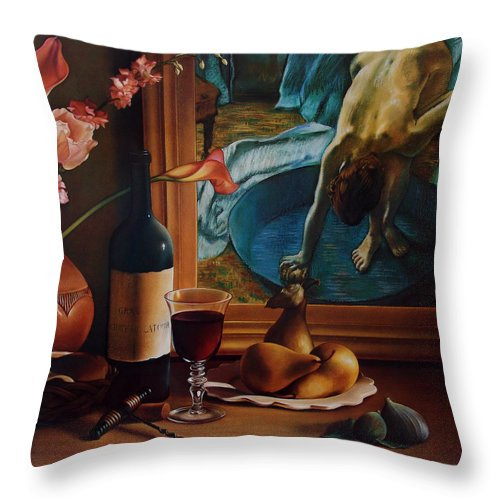 Wine Throw Pillow featuring the pastel Gran Chateau With Pears by Patrick Anthony Pierson