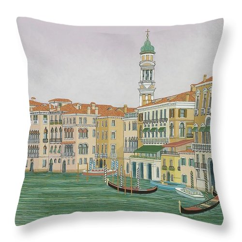 Venice Throw Pillow featuring the painting Grand Canal by David Hinchen