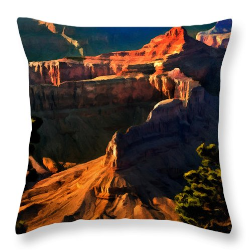 Grand Canyon National Park Throw Pillow featuring the painting Grand Canyon At Sunset by Bob and Nadine Johnston
