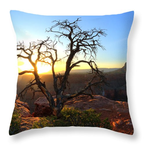 Grand Canyon Throw Pillow featuring the photograph Grand Canyon Gathering The Light by Bob Christopher