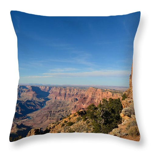 Travelpixpro Grand Canyon Throw Pillow featuring the photograph Grand Canyon National Park Mary Colter Designed Desert View Watchtower Near Sunset by Shawn O'Brien