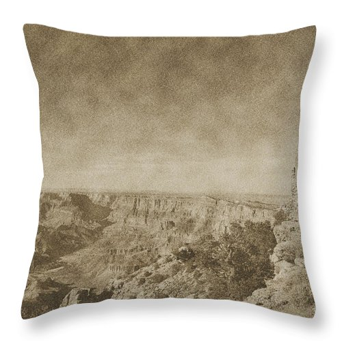 Travelpixpro Grand Canyon Throw Pillow featuring the photograph Grand Canyon National Park Mary Colter Designed Desert View Watchtower Vintage by Shawn O'Brien