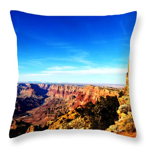 Travelpixpro Grand Canyon Throw Pillow featuring the photograph Grand Canyon National Park Mary Colter Designed Desert View Watchtower Vivid by Shawn O'Brien