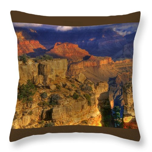Grand Canyon Throw Pillow featuring the photograph Grand Canyon - The Wonders Of Light And Shadow - 1a by Michael Mazaika