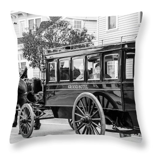 Grand Hotel Throw Pillow featuring the photograph Grand Entrance by Sheri Bartoszek