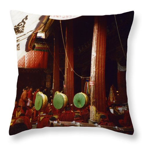 First Star Throw Pillow featuring the photograph Grand Prayer Festival In The Jokhang by First Star Art