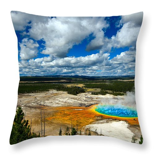 America Throw Pillow featuring the photograph Grand Prismatic Pool Yellowstone National Park by Lane Erickson